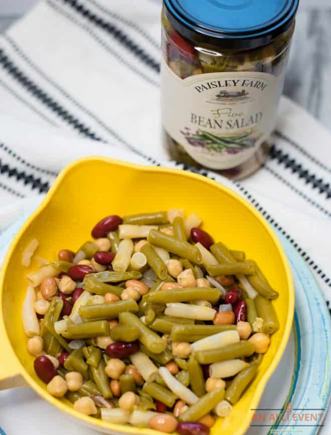 Five Bean Salad in yellow colander