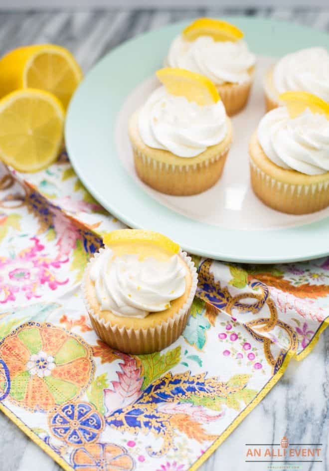 Lemon Cupcakes on a white plate with blue border