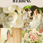 collage of wedding photos featuring the bride and bouquet