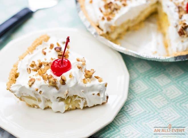 Slice of Banana Split Pie with cherry on top