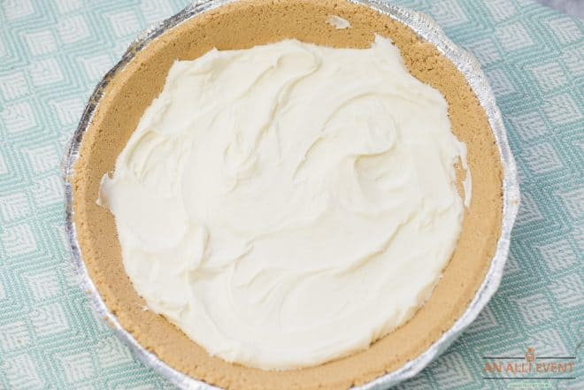 graham cracker crust filled with cream cheese mixture