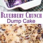 Blueberry Crunch Dessert in a 9x13 baking pan. Topped with pecans and sprinkled with sugar