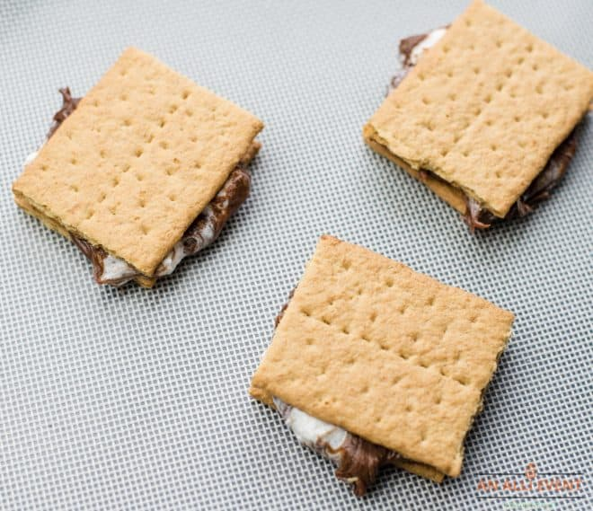 graham crackers sandwiched together with a chocolate marshmallow mixture on the inside