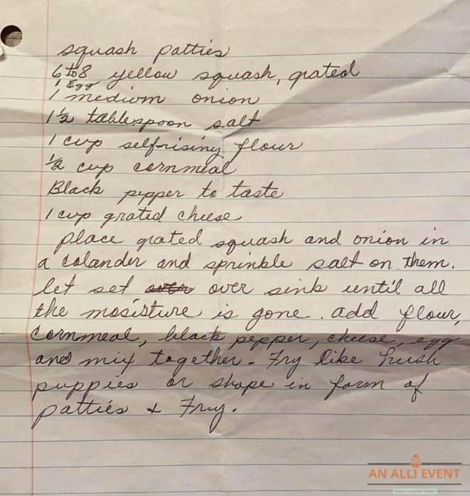 Handwritten recipe for Squash Patties