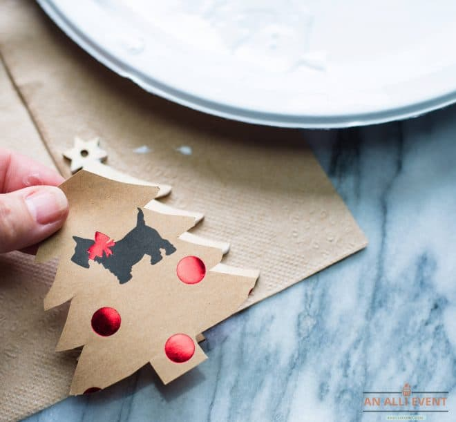 Wrapping Paper cut out and placed on wooden Christmas Tree Ornament