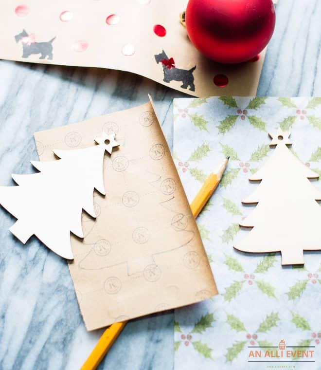 DIY Christmas Tree Craft - trace paper with pencil and cut out