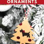 DIY Christmas Tree Ornaments hanging on a white flocked Christmas tree