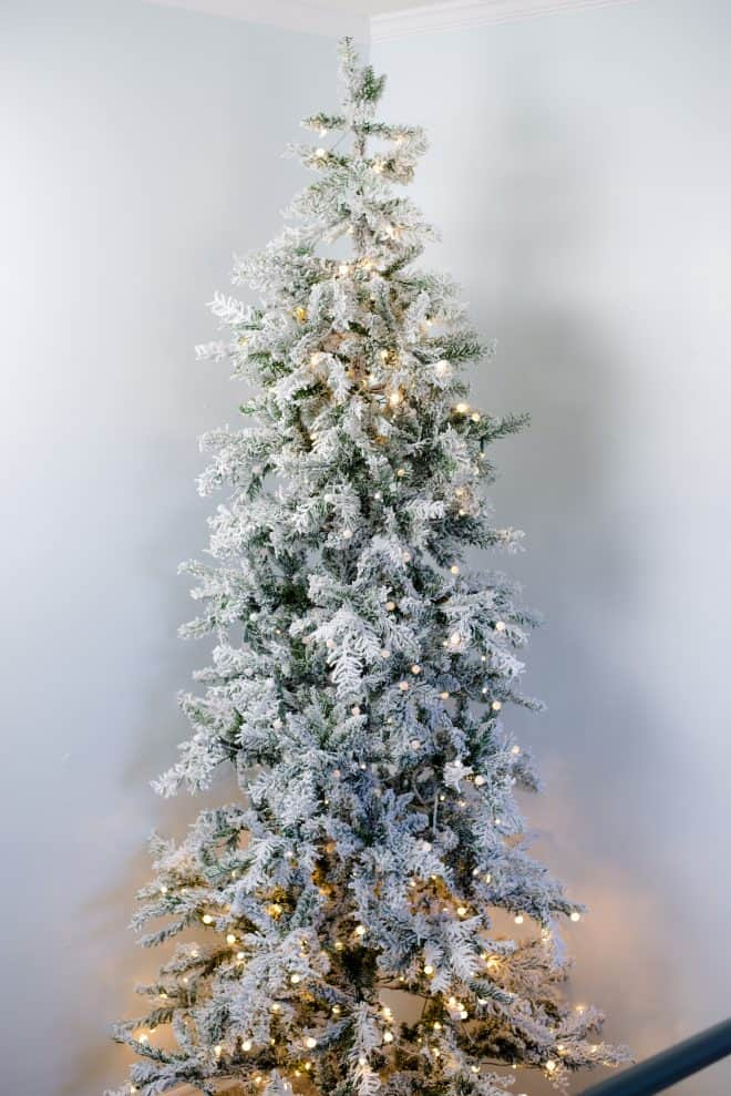 Flocked Artificial Christmas Tree With LED Lights