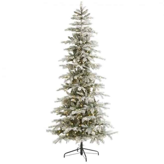 flocked Christmas tree with lights