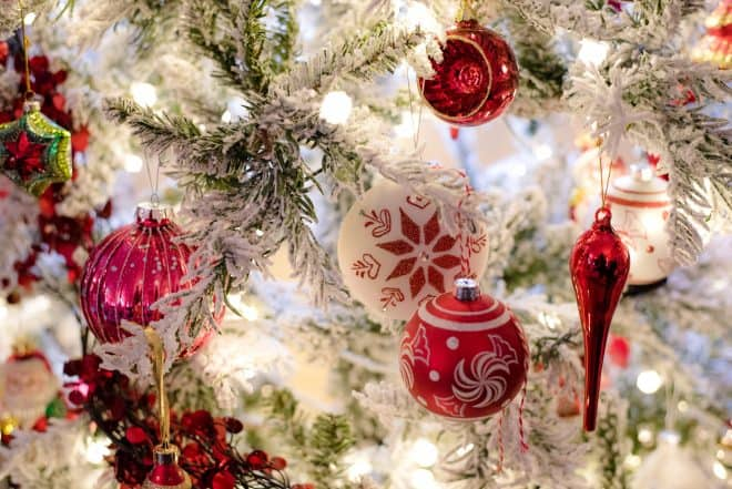 Red and White Ornaments on Flocked Slim Christmas Tree