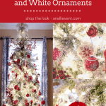 Flocked Christmas Tree with white lights and red and white mouth blown glass ornaments