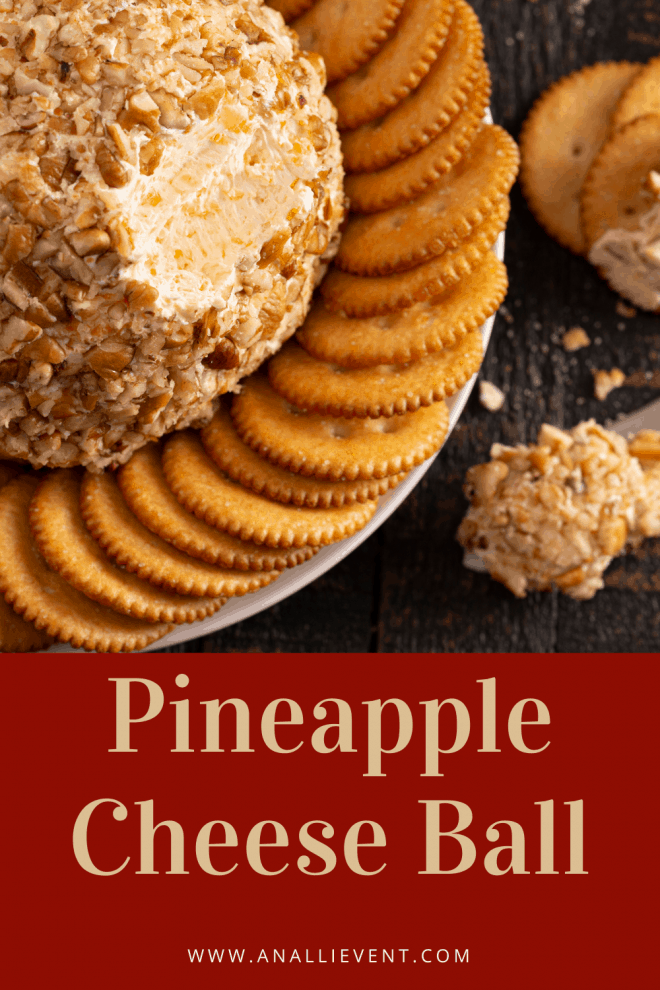 Pineapple Cheeseball surrounded by crackers