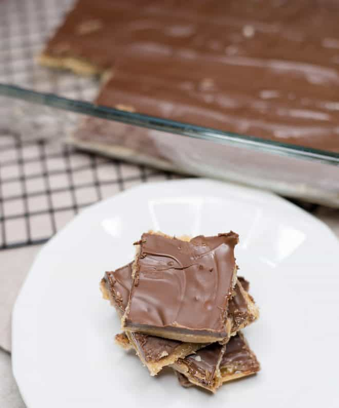 Chocolate Candy Crunch squares stacked on top of each other