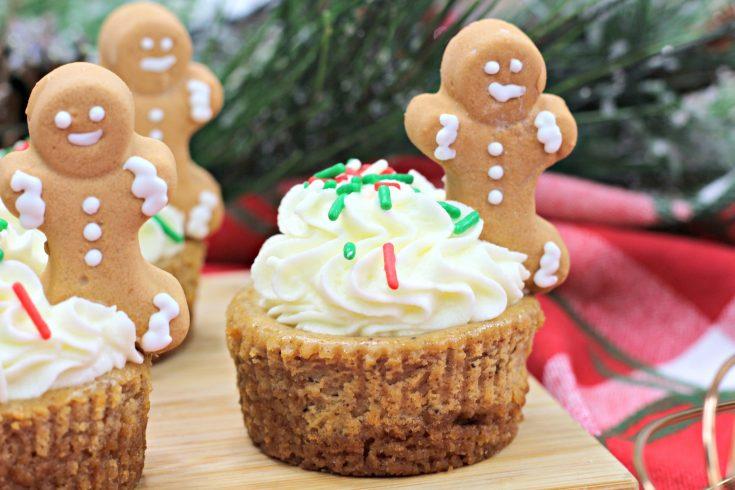 Mini Gingerbread Cheesecakes on a cutting board