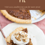 Caramel Pecan Pie With Text at the top of the photo