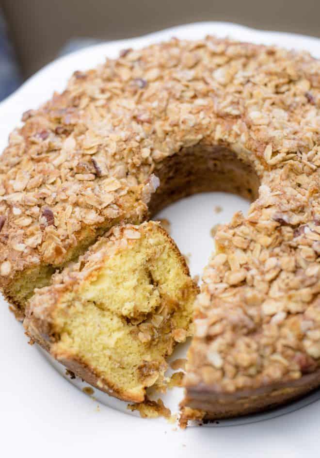 Banana Crunch Cake on a white serving platter