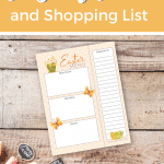 Easter Menu and Shopping List printable