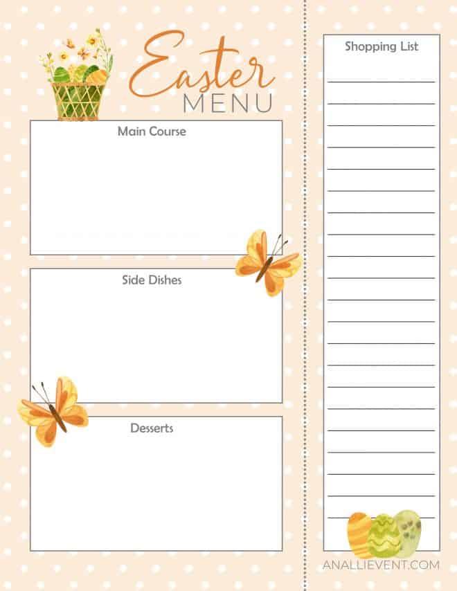Free printable Easter Menu and Shopping List