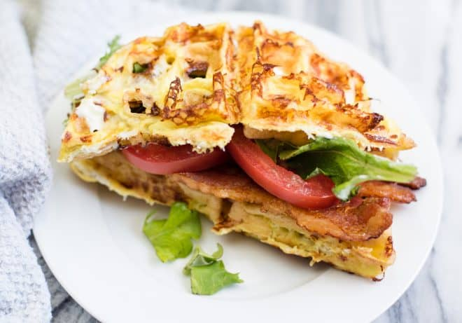 BLT Chaffles - Bacon, Lettuce and Tomato served on cheese and egg chaffles