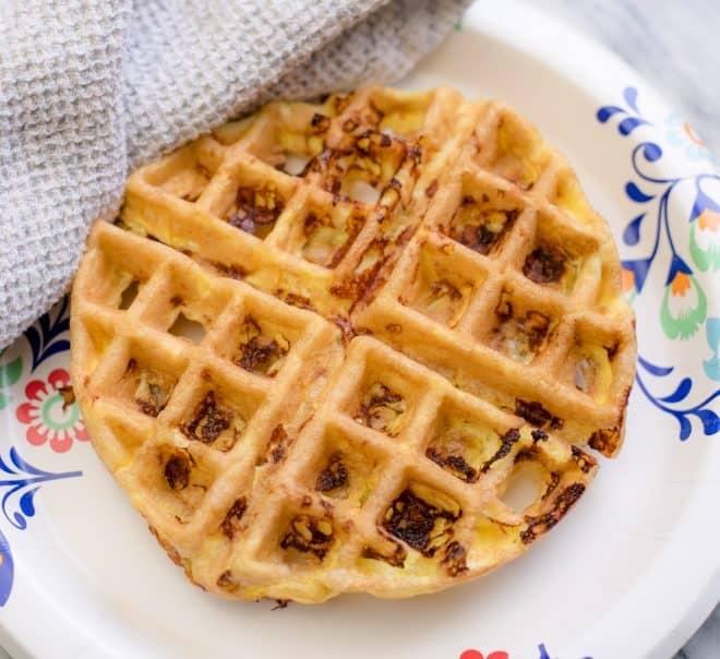 Crispy Chaffle on white plate