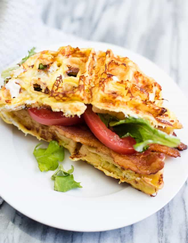 Low Carb BLT Chaffle on a white serving plate