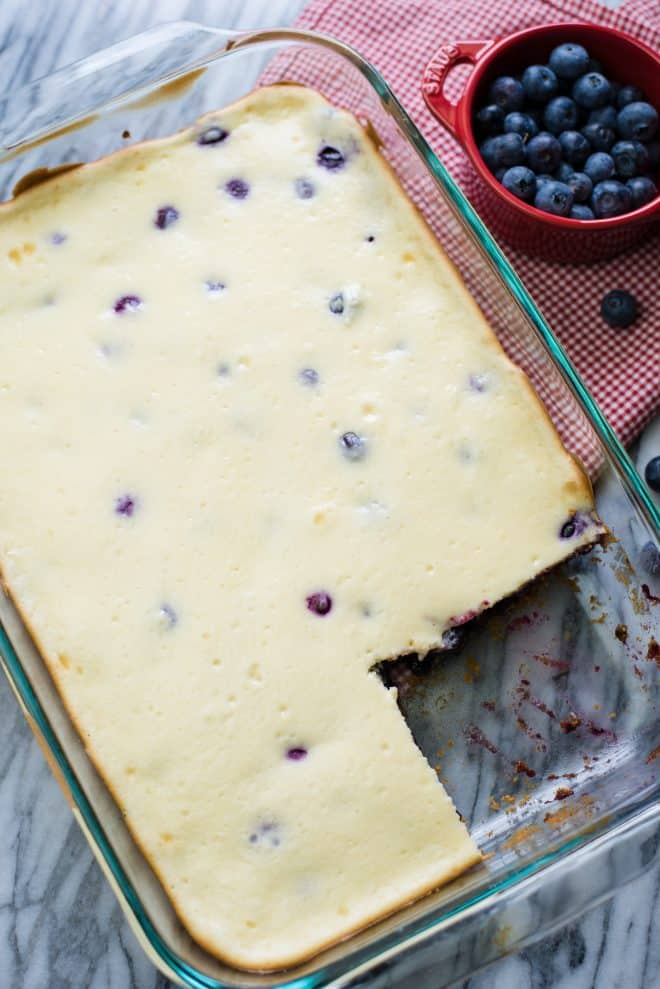 Blueberry Cheesecake Bars after baking