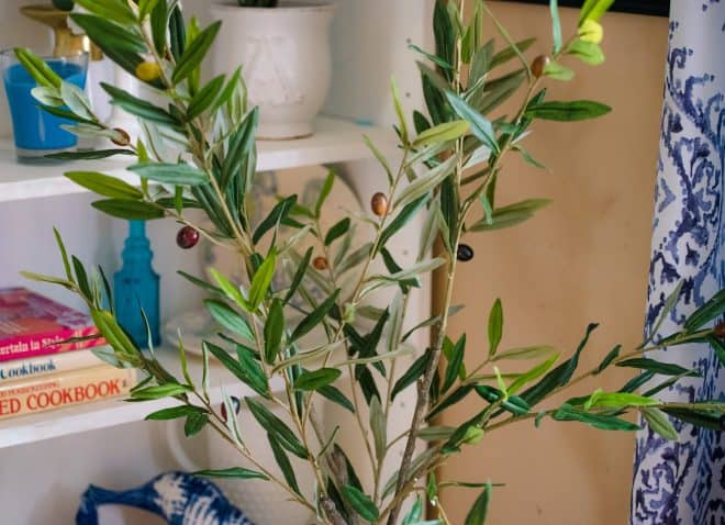 Close-up photo of faux olive tree showing all the faux olives on the tree