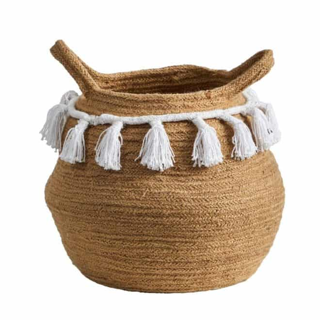 hand woven boho chic basket with white tasels