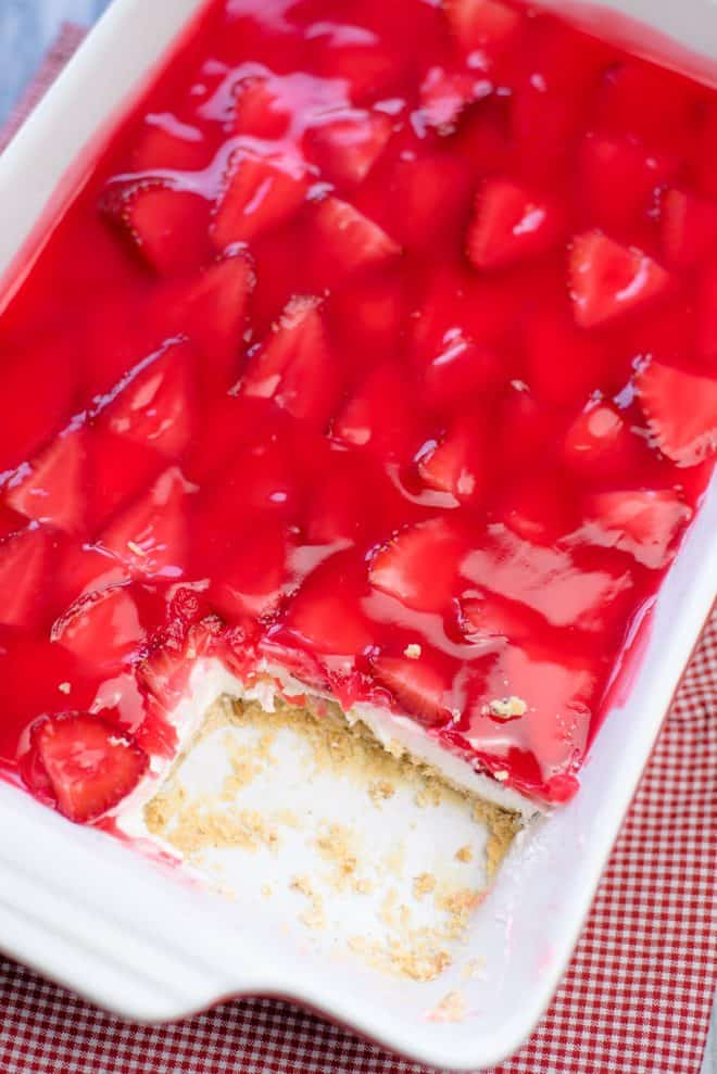 Strawberry Delight Layered Dessert in a 9x13 baking pan