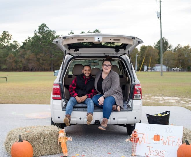 Pumpkins and fall decor trunk or treat