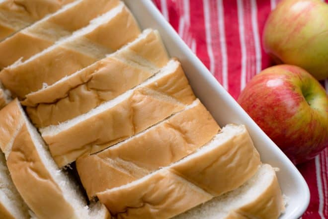 slices of french bread in a casserole dish