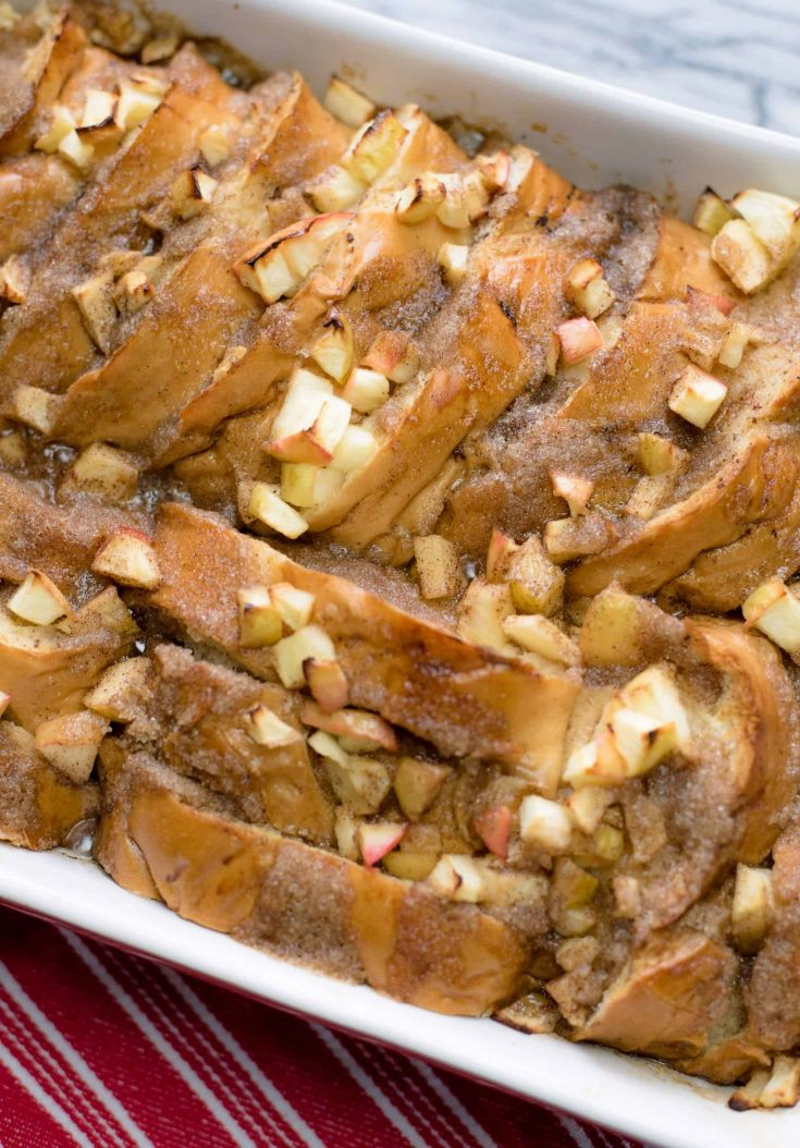 Baked Apple French Toast in a 9x13 baking pan, fresh from the oven