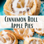 Cinnamon Roll Apple Pies on a serving plate